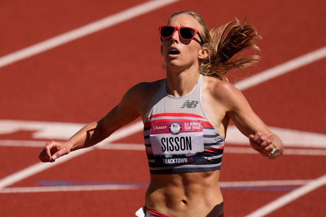 Emily Sisson wins the 10,000 meters at last month's US Olympic Trials with a record time of  31:03.82.