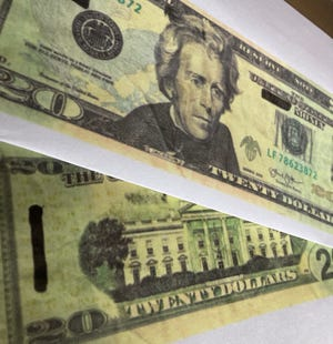 Photo copy of the counterfeit money evidence confiscated by Hartville Police.