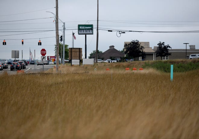 The intersection of Everhard Road NW and Fulton Road NW in Jackson Township is being developed as the Greens of Belden. Plans are to build a restaurant called Slim Chickens on a lot east adjacent to the Meijer store. Developers are seeking a tenant for the lot closest to the intersection.