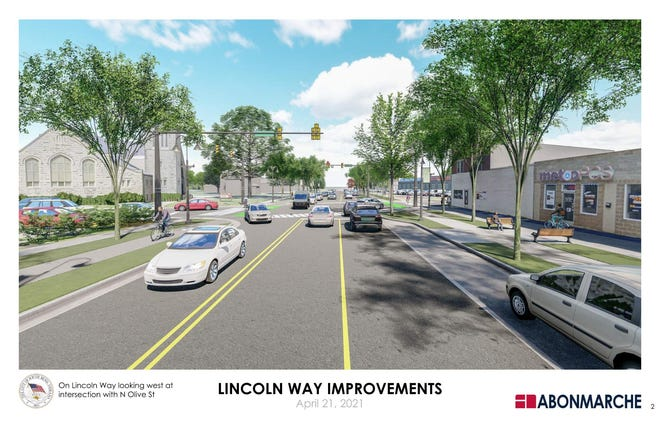 This is an artist's rendering of the Lincoln Way West and Olive Streetscape project beginning on Monday in South Bend.