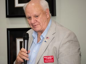 Bob Daniels, seen here during his 2019 campaign for mayor, is asking the city to reimburse him for legal fees incurred while fighting an ethics violation charge stemming from his use of a city-issued iPad to do a background search on a city resident then send it to his wife's private email, so she could print it out.