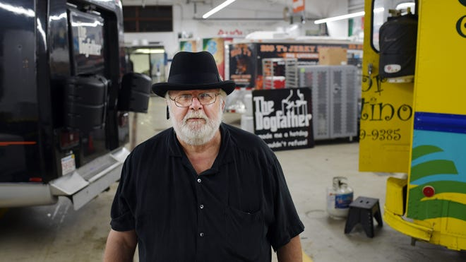 Dogfather owner Mark Gallant at his food truck headquarters in Boylston. He'll be hosting the Worcester Food Truck Throwdown and Craft Fair July 31 at Beaver Brook Park.