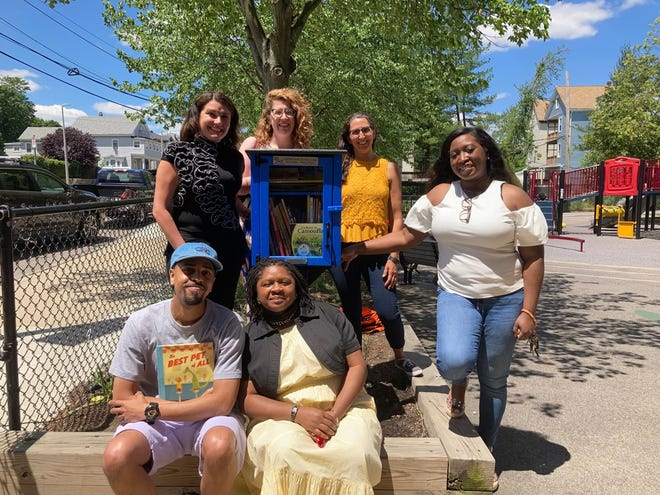 A to Z Child Care and Preschool, 126 Gould St., Needham, partnered with Needham's Storytime Crafts, Inc. to install a Little Free Library outside of Haynes Early Education Center, 263 Blue Hill Ave., Roxbury, on June 16. Front row , Sean Thimas, program manager, ReadBoston; Donette Wilson, principal, Haynes Early Education Center. Back row, Eileen Rakhunov, founder/director, A to Z Child Care and Preschool; Claire Kaiser, association director for Community Hub Schools; Lisa Vergara, founder/president, Storytime Crafts, Inc.; and Jasmine Parham, community field coordinator, Haynes Early Education Center.