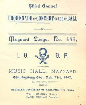 Dance card for an 1892 dance held by the International Order of Odd Fellows. Program was concert 8-9 p.m., dancing 9 p.m.-4 a.m.