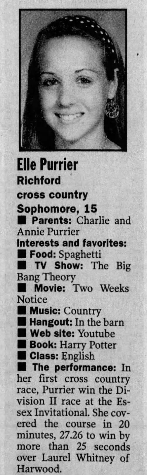 Elle Purrier St. Pierre was the Burlington Free Press' girls athlete of the week in Sept. 2010.