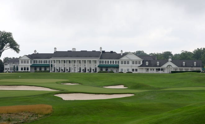 Looking at the clubhouse from the ninth green at Oakland Hills Country Club's South Course in Bloomfield Township on Thursday, July 8, 2021.