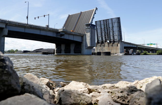 Mechanical issues caused the Mason Street bridge, pictured on July 9, 2021, to get stuck open. A timeline for when the bridge will be repaired has not been determined.