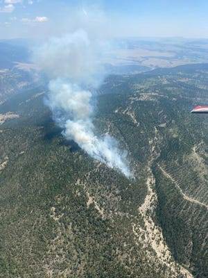 The Ellis Fire, burning in the Dry Range mountains west of the Smith River is now 110 acres in size.
