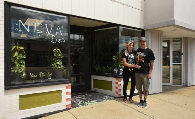 Luke Trusnovec and Faun Donald pictured Friday, July 9, 2021, outside their newly opened plant shop Neva Lee's on East Kalamazoo Street in Lansing.