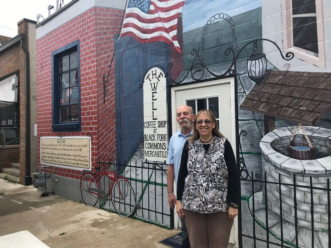 Tony and Bev Hall, the owners of the Black Fork Commons and The Well Coffee Shop, 24 W. Main St., had a mural painted on the east side wall of their building which depicts Shelby's rich history.