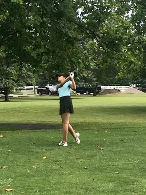 Pleasant's Dina Shah tees off during a Heart of Ohio Junior Golf Association tournament Thursday at Green Acres. For the third straight year, Shah will compete in the Ohio Junior Girls Championship at Marion Country Club on Monday and Tuesday.