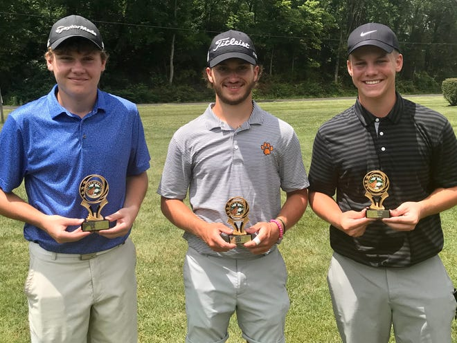 Alex Crowe, left, Spencer Keller, center and Alex Pratt tied atop the 16-to-18 age division of Thursday's Heart of Ohio Junior Golf Association stop at Green Acres. Crowe won a playoff with a chip-in.