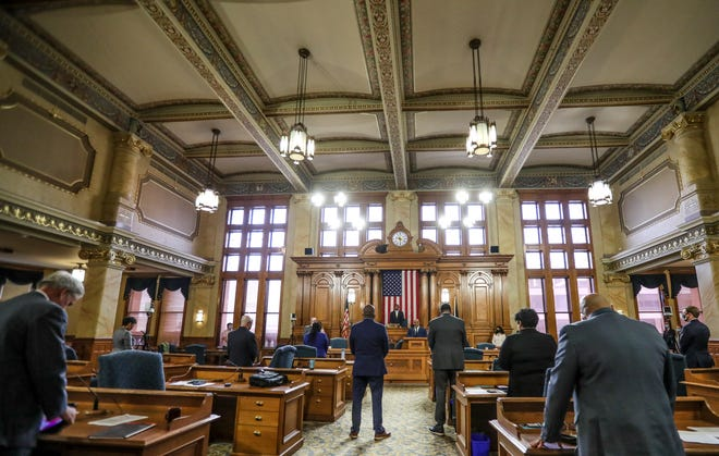 The Milwaukee Common Council meets Wednesday in the Common Council Chambers at Milwaukee City Hall for the first time since meetings went virtual due to the pandemic early last year.