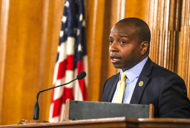 Common Council President and 2nd District Cavalier Johnson leads the Milwaukee Common Council meeting Wednesday, July 7, 2021, in the Common Council Chambers at Milwaukee City Hall.