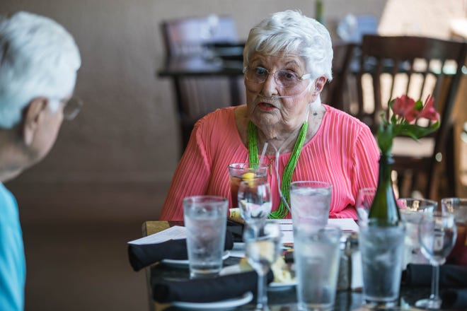 Frances Williams attends a lunch in her honor at D.H. Lescombes Winery and Bistro in Mesilla on Friday, July 9, 2021.
