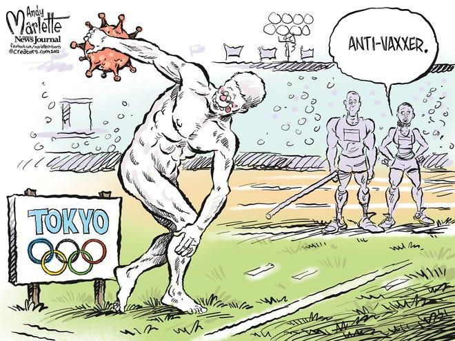 Marlette cartoon: Olympian anti-vaxxers?!
