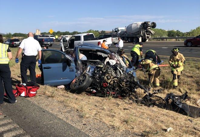 A Toyota truck crashed head-on into a Dodge truck, killing both drivers and injuring two small children on July 9, 2021.