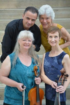 The Chanticleer String Quartet features Jennifer Smith (clockwise from bottom left) on viola, Stefan Xhori on violin, Caroline Klemperer Green on violin and Elizabeth Gottling Mendoza on cello.
