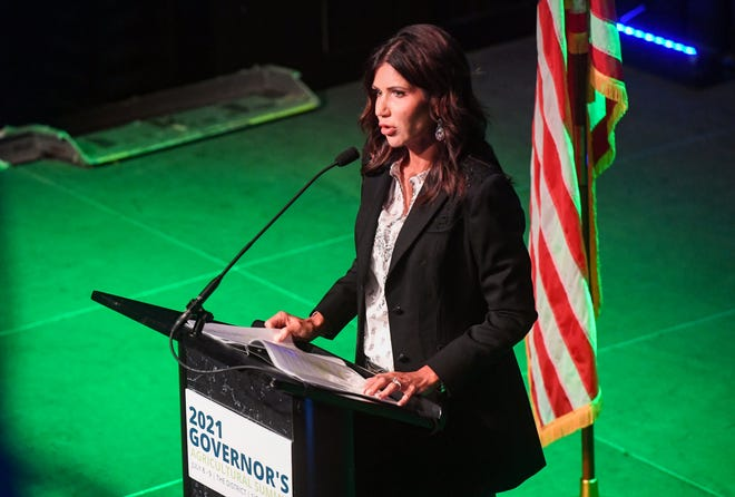 Governor Kristi Noem gives the welcome address at the 2021 Governor's Agricultural Summit on Friday, July 9, 2021, at The District in Sioux Falls.