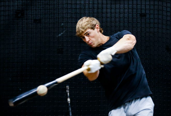 Mason Auer takes batting practice at Marucci Clubhouse Midwest on Thursday, July 8, 2021. Auer is expected to be drafted in the MLB Draft.