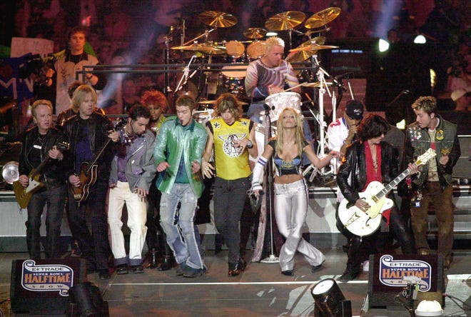 NSYNC, Aerosmith and Britney Spears all perform during the halftime show for Super Bowl XXXV January 28, 2001 at the Raymond James Stadium in Tampa, FL.