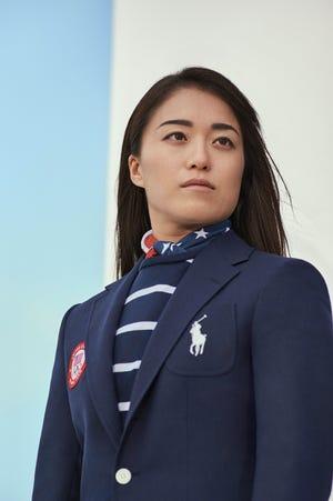 Ralph Lauren athlete Sakura Kokumai in the opening ceremony outfit.