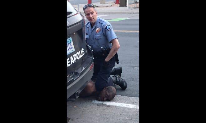 Minneapolis police officer Derek Chauvin kneeling on George Floyd on May 25, 2020.