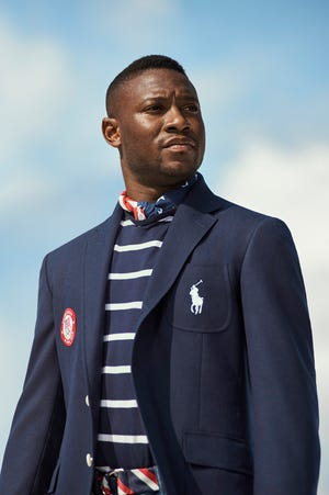 Ralph Lauren athlete and Olympic fencer Daryl Homer in the opening ceremony uniform.