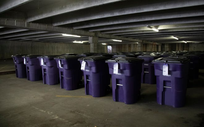 The Violet KeepSafe Storage program uses 96-gallon bins for people experiencing homelessness to store their personal belongings. The program serves about 170 people.
