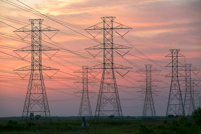 The electric power grid carrying energy to Austin, San Antonio and Houston's NRG, leaves the South Texas Project Electric Generating Station, one of the largest nuclear power facilities in the nation, near the Gulf Coast.
