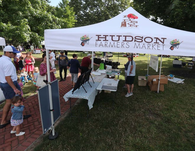 The Hudson Farmers Market, pictured here from Saturday, July 10,  will have a Bike Day on July 24.  Shoppers are encouraged to ride their bikes to the market, making them eligible to win a prize.