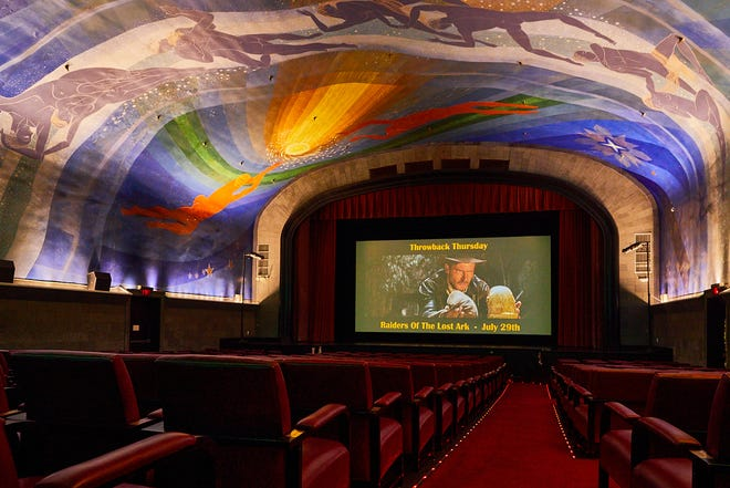 """The historic Cape Cinema in Dennis, which has an art deco mural of the heavens designed by Rockwell Kent on its ceiling, has a Throwback Thursday series with cocktails themed to movies such as """"Raiders of the Lost Ark"""" and """"The Mummy."""""""