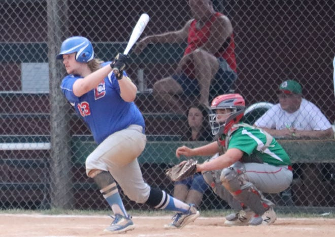 Cambridge's Bryce Murdock drives in one of his three RBIs during Friday's doubleheader sweep of Barnesville in American Legion baseball action.