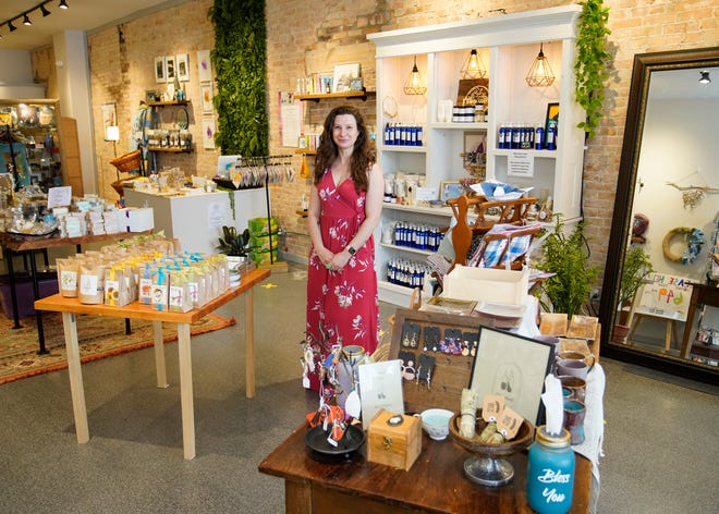 Paper Street Soap owner Victoria Lord is pictured Friday in the store in downtown Tecumseh.