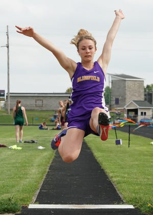 Blissfield's Annabelle Smith leaps in the long jump event during the 2019 Lenawee County Championships at Onsted.