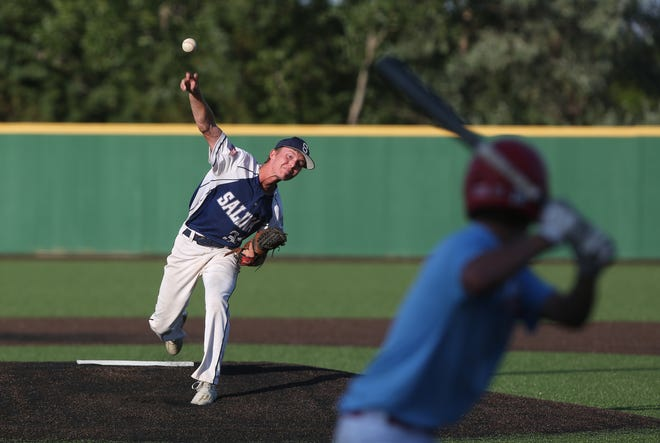 The Salina Hawks' Colby Rice (34) pitches against McPherson during their Kansas Grand Slam 16-and-under pool game Friday night at Dean Evans Stadium. The Hawks won, 8-2.
