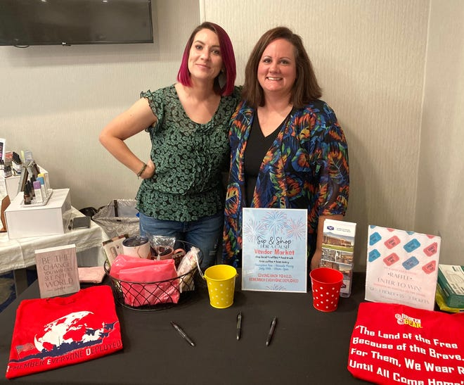Sip and Shop for a Cause organizers Kelle Zehner, left, and Amanda Meek pose for a photo during a Summer Vendor Market held at the Sneads Ferry Hampton Inn, Saturday, July 10, 2021.