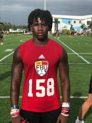 Vanguard rising sophomore defensive back Fred Gaskin III at FBU's Top Gun Showcase on Friday at Paradise Coast Sports Complex in Naples.