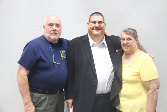 Ridgecrest Mayor Eric Bruen poses with mother Lynda Frommer and stepfather Gary Frommer after the Ridgecrest City Council meeting July 7, 2021. The Frommers were unable to attend in person to see Bruen's swearing in as mayor last year due to the pandemic.