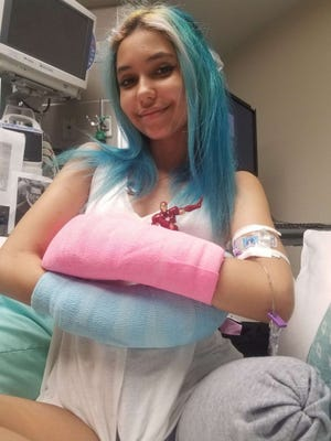 Paige Winter in the hospital after surviving a shark attack in 2019. Photo from Good Morning America