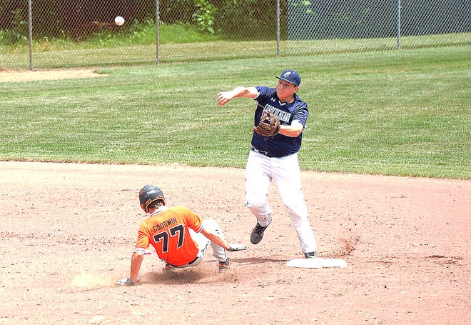 Conococheague second baseman Jackson Brandenburg throws to first in an attempt to complete a double play after forcing out Rising Sun's Dillon Goodwin during Saturday's Maryland Senior League Tournament winners' bracket semifinal in Williamsport. The runner was safe at first.