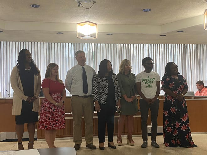 New principal announcements were made at the July 6 Rapides Parish School Board meeting. (From left) New principals and their schools are Pamela Walker at Lessie Moore Elementary, Shannon McCue at Acadian Elementary, Alex Goodling at Northwood High, Kim Lord at Cherokee Elementary and Keandra Ford at Arthur F. Smith Middle Magnet. Current principals now moved to new schools are Renisha Beaudoin at Alexandria Middle Magnet School and Dennis Stewart at Peabody Magnet High School.