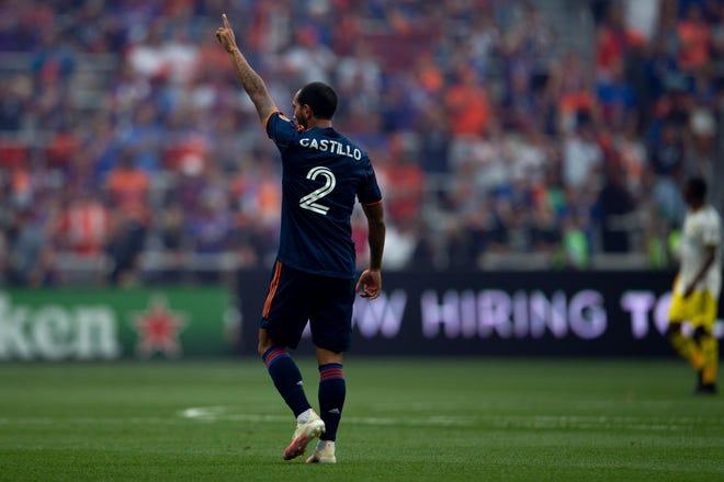 FC Cincinnati defender Edgar Castillo (2) celebrates after his goal is confirmed in the first half of the MLS soccer game between FC Cincinnati and Columbus Crew on Friday, July 9, 2021, at TQL Stadium in Cincinnati.