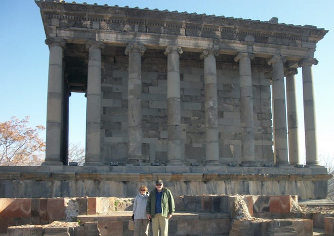 """Carol Hoffman and her late husband, Stan Ore, stand in front of Garni Temple, a 1st- or 2nd-Century structure and the only classical Roman temple standing in Armenia, where the Appleton-based couple were educators for two years. Now retired and living part-time in Fish Creek, Hoffman is releasing a memoir, """"Twelve Years Overseas: An Educator's Journey Across the Globe,"""" about her overseas adventures."""