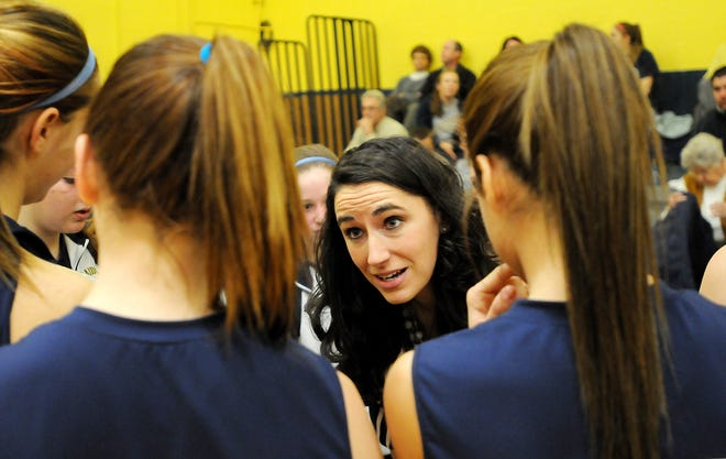 Elco girls head coach Ashli (Schwab) Shay talks to her team before the start of a game. During her career as a player at Elco, Shay scored over 2,000 career points and led the Raiders to the 3A district title in 2001. She finished 5th in the girls' voting of our Greatest Lebanon County Basketball Players of the last 50 years poll.