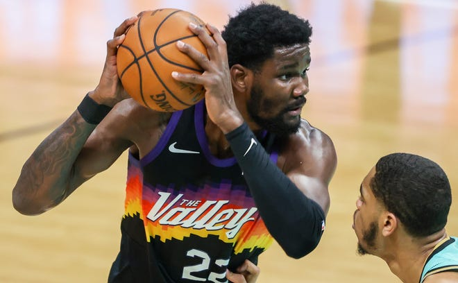 Deandre Ayton is averaging 16.2 points and 12.1 rebounds on 69.5% shooting in his first postseason.
