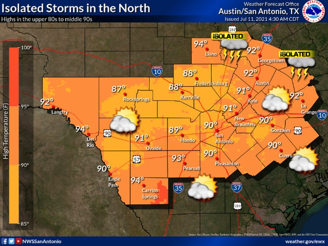 The National Weather Service's Austin area forecast for July 11, 2021.