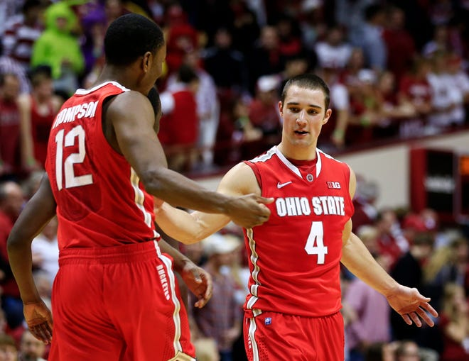 """Former Ohio State players Aaron Craft and Sam Thompson, here in a 2013 game against Indiana, took part in the first official """"Pro Week"""" at the school."""