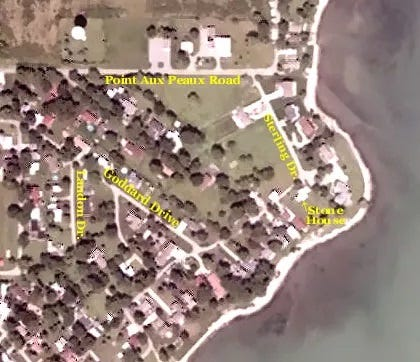 This overhead photo shows the locations on the 25-acre Pointe Aux Peaux Island (Point of skins-French-pronounced Point O Po) purchased by Joseph M. Sterling in 1867 as one of numerous sites in Monroe County to grow and harvest grapes for wine production.