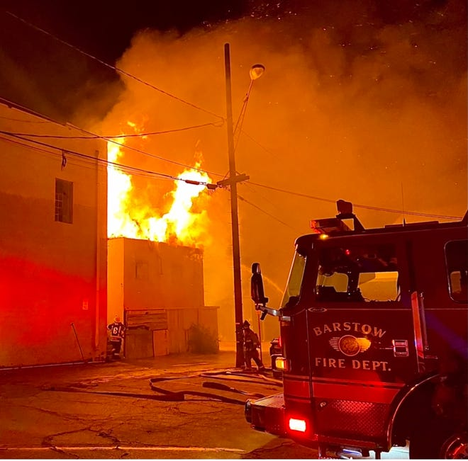 Barstow Fire Protection District responds to a burning building at 200 North First Ave. in Barstow, one of nearly 80 structure fires it has fought in the first half of 2021.